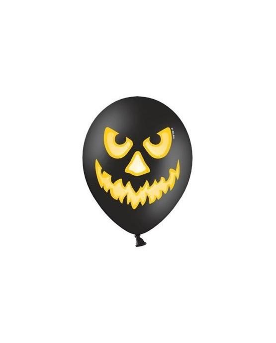 Latexové balóniky Strašidelná tekvica - čierne 10ks 37cm/P40