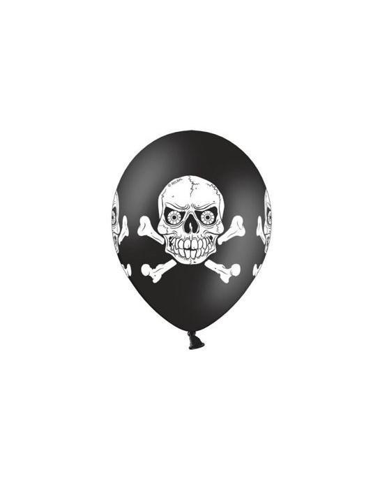 Latexové balóniky Strašidelná lebka- čierne 10ks 37cm/P45