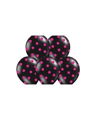 Latexové balóny čierne - ružové bodky  30cm10ks