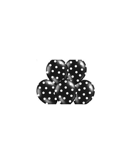 Latexové balóniky čierne biele bodky 10ks 37cm/P20