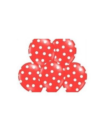 Latexové balóny červené -biele bodky 30cm 10ks