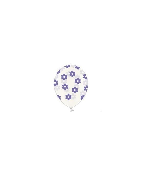 Latexové balóniky priehľadné kvetov -fialové  10ks 37cm/P39