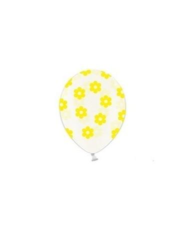 Latexové balóny priehľadné- žlté kvety 30cm 10ks