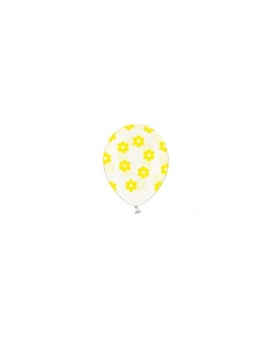 Latexové balóniky priehľadné kvetov - žlté 10ks 37cm/P39