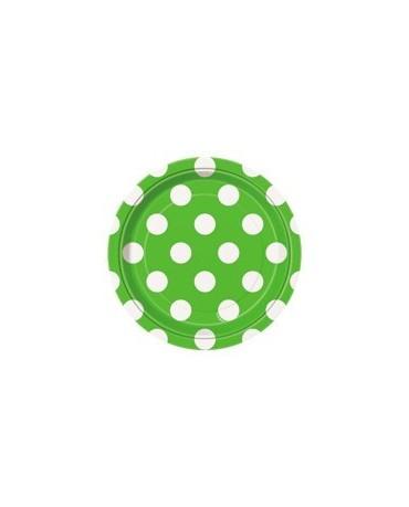 Tanieriky - zelené -biele bodky 18 cm 8ks
