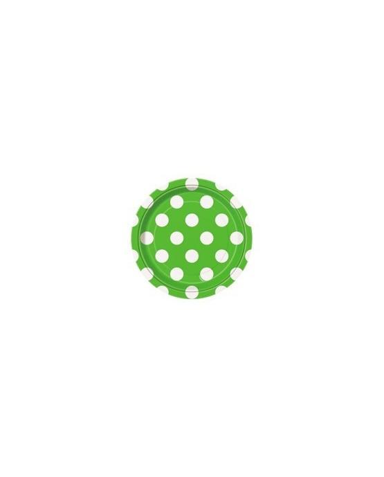 Papierové tanieriky - zelené s bielymi bodkami 18 cm - 8 ks/P110