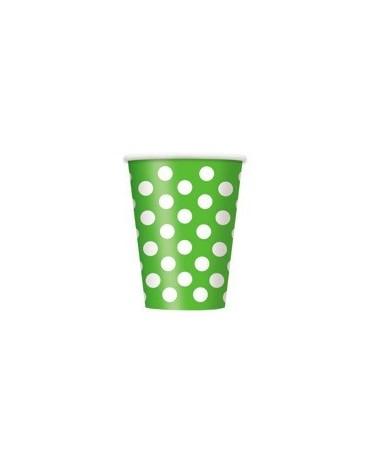 Poháre - zelené- biele bodky 355 ml 6ks