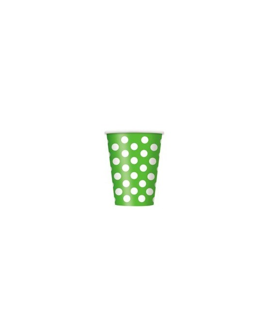 Papierové poháre - zelené s bielymi bodkami 355 ml 6ks/P110