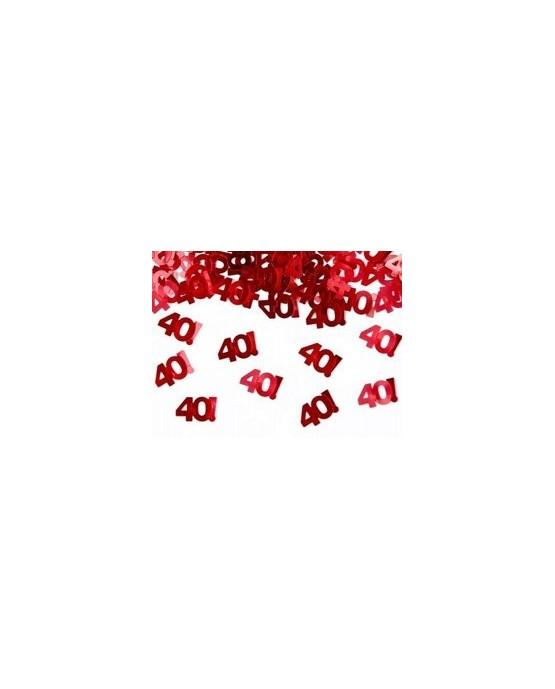 Metalické konfety číslice 40 - červené 15 g/P91