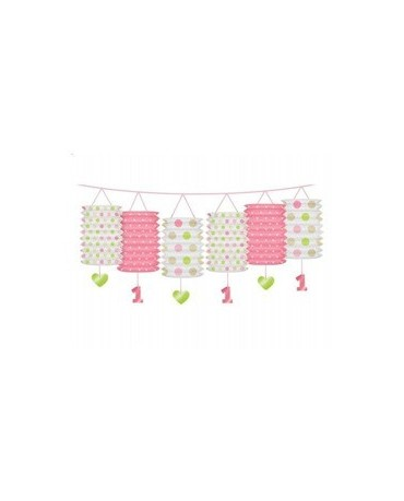 Girlanda - ružové lampióny na 1. narodeniny 3,6m/P185