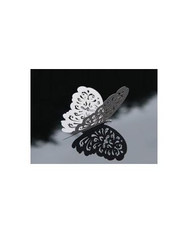 Dekorácia - biele motýle 14 cm - 10 ks
