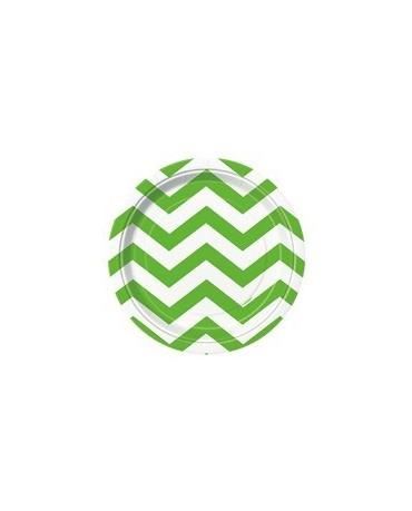 Tanieriky - zelené-biele vlnky 18 cm 8ks