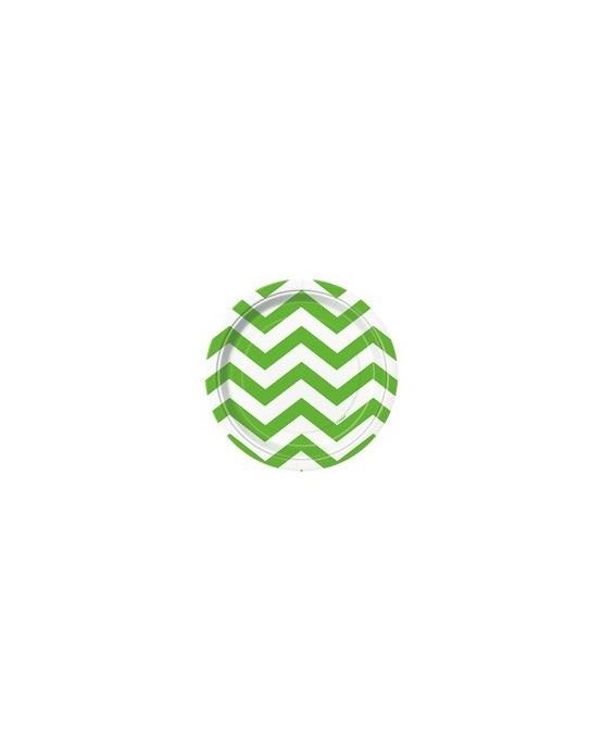 Papierové tanieriky - zelené s bielymi kľukatými pásikmi 18 cm - 8 ks/P119