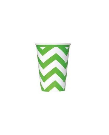 Poháre - zelené-biele vlnky 355 ml 6ks