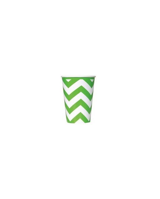 Papierové poháre - zelené s bielymi kľukatými pásikmi 355 ml 6ks/P119