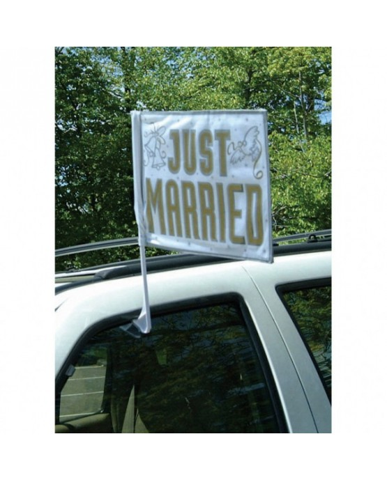 Vlajka na auto - Just Married 35.5 x 45.7 cm