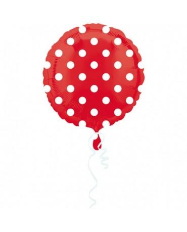 Fóliový balón - červený- biele bodky 43cm