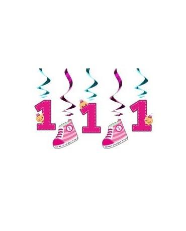Špirály - k 1. narodeninám- ružové 60cm 5ks/P146