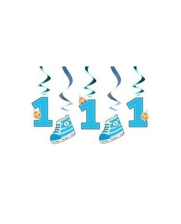 Špirály 1. narodeniny - modré 60cm 5ks