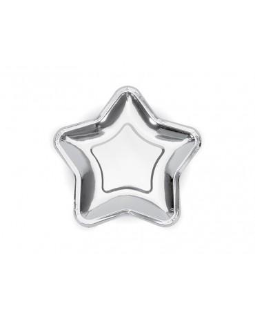 Tanieriky hviezda - strieborné 18cm 6ks