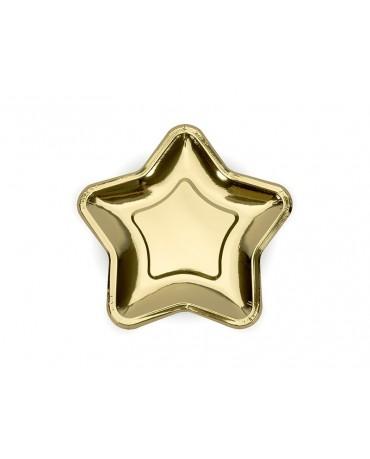 Tanieriky hviezda - zlaté 18cm 6ks