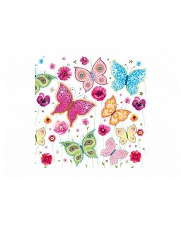 Servítky - farebné motýle 33cm 20ks