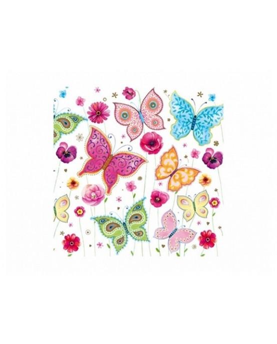 Servítky - motýle - fareb. 33cm 20ks