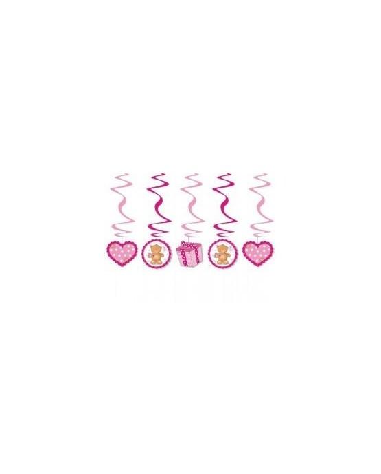 Špirály - medvede -ružové 60cm 5ks/P185