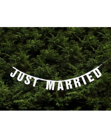 Banner Just Married -biely 18x170 cm