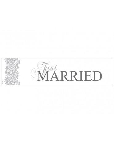 """Svadobné ŠPZ  """"Just  Married""""-bielo-strieborné 10ks"""