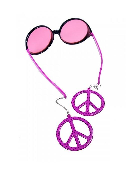 Okuliare - Peace ružové 1ks/P61