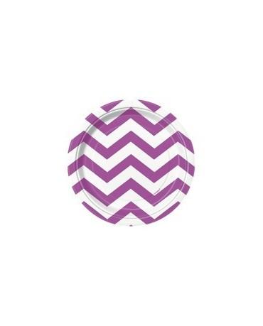Papierové tanieriky - fialové s bielymi kľukatými pásikmi 18 cm - 8 ks/P120
