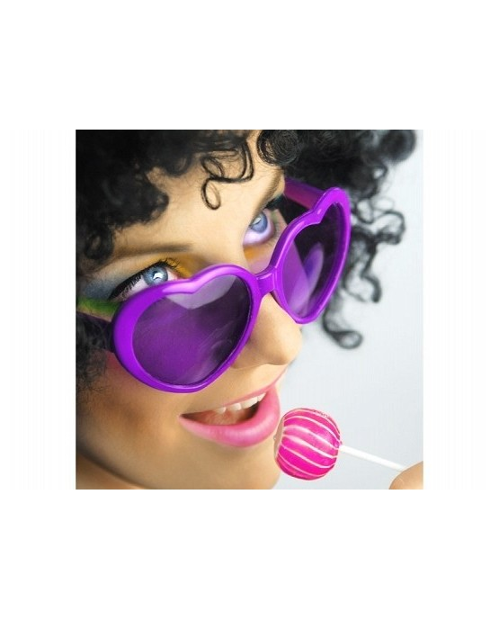 Okuliare - fialové srdcia 1ks/P61