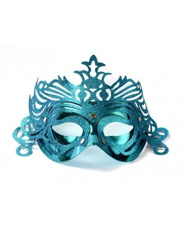 Benátska maska -tyrkysová s ornamentom