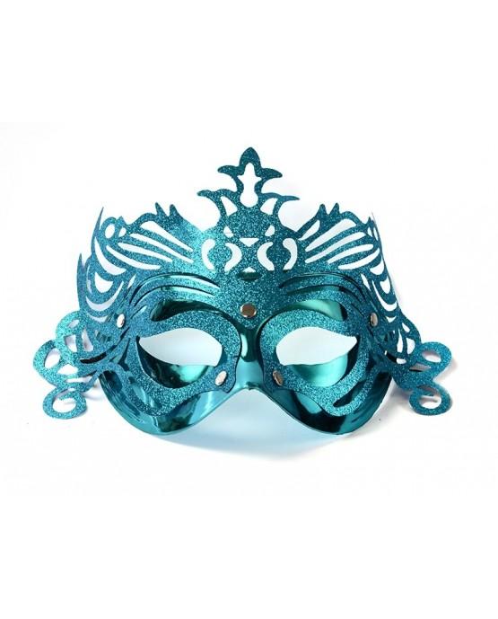 Maska Benátsky karneval -tyrkysová s ornamentom 1ks/P67