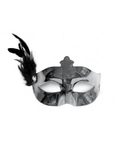 Benátska maska - strieborná s pierkom
