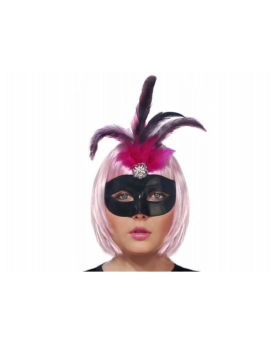 Maska Benátsky karneval -čierna s čierno-ružovým pierkom 1ks/P68