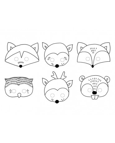 Masky - zvieratká 6ks