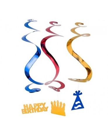 Špirály - čiapky a nápisy Happy Birthday 3ks/P85