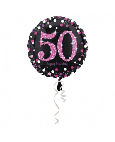 Fóliový balón číslo 50- ružový 43cm