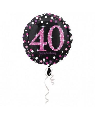 Fóliový balón číslo 40 - ružový 43cm