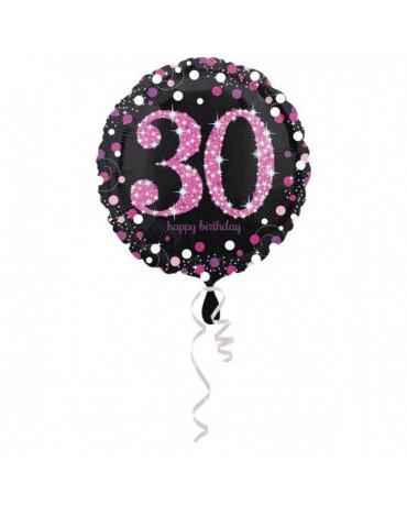 Fóliový balón číslo 30 - ružový 43cm