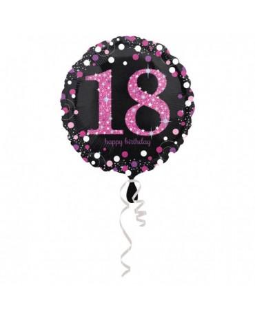 Fóliový balón číslo 18 - ružový 43cm
