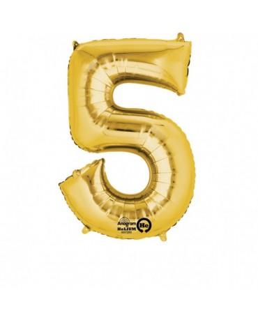 Fóliový balón číslo 5- zlatý  58x86cm