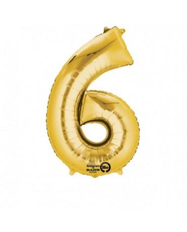 Fóliový balón číslo 6-zlatý  55x88cm