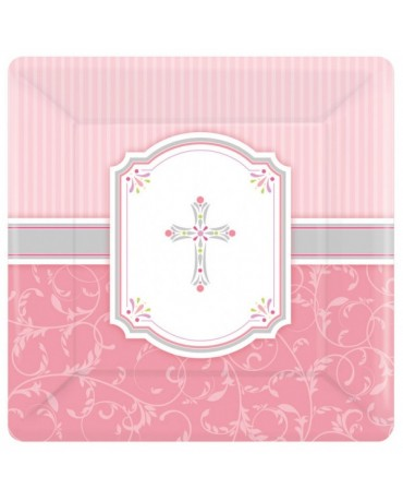 Tanieriky krst - ružové 25,4cm 8ks