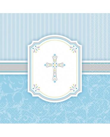Servítky krst - modré 33x33cm 16ks