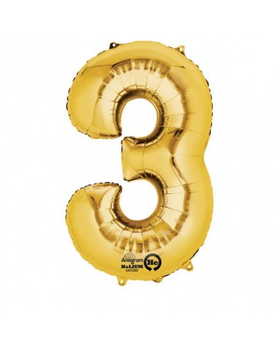 Fól. balón č. - 3 zlatý  53x88cm