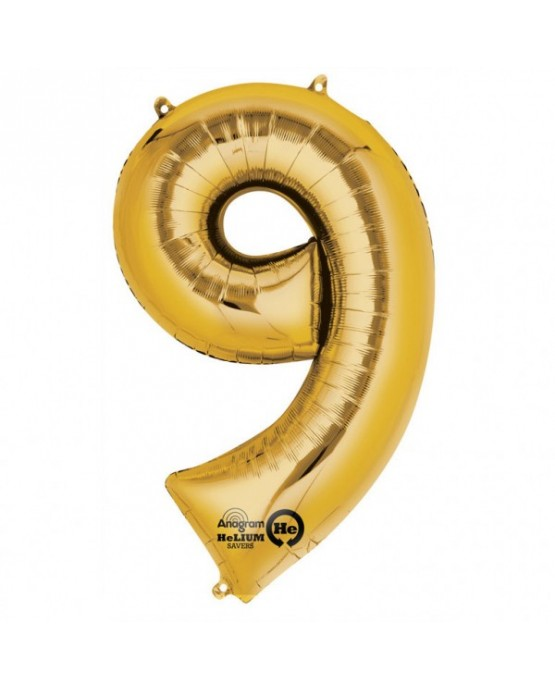 Fól. balón č. - 9 zlatý  63x86cm