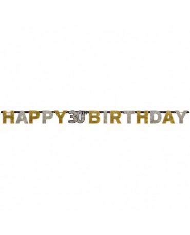 Banner Happy Birthday 30- strieborno-zlatý